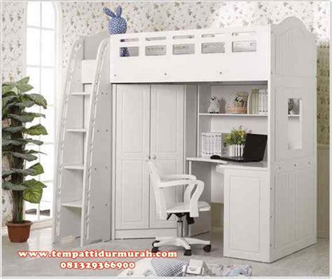 Ranjang Lemari desain set tempat tidur tingkat minimalis white meja