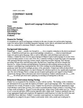 Speech And Language Evaluation Report Template speech therapy evaluation report non school setting tpt