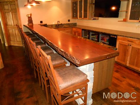 log bar tops log dining room tables chairs barstools northern cedar