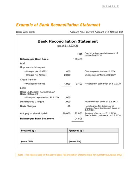 bank reconciliation statement form free