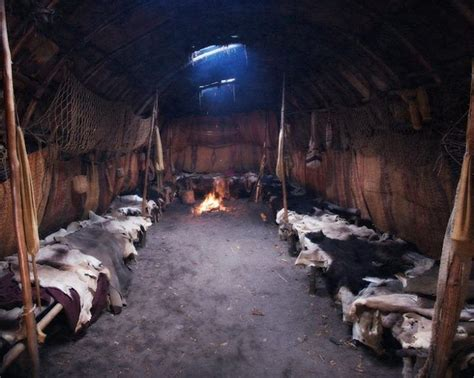 Inside a longhouse interior viking buildings mohawk indians viking