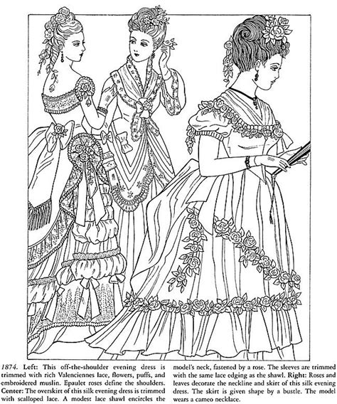 ladies victorian dress fashion coloring pages news