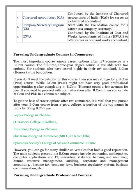Integrated Mba After 12th by Career Options After 12th Commerce