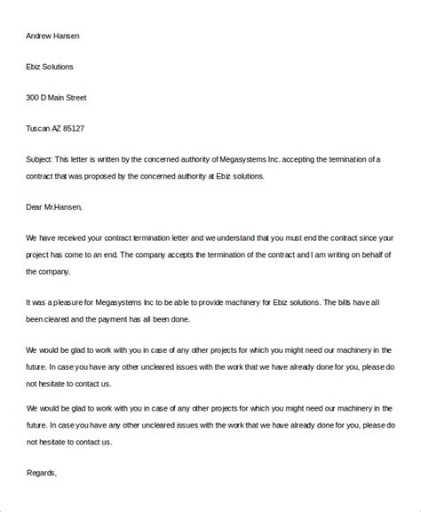 sample contract termination letter templates