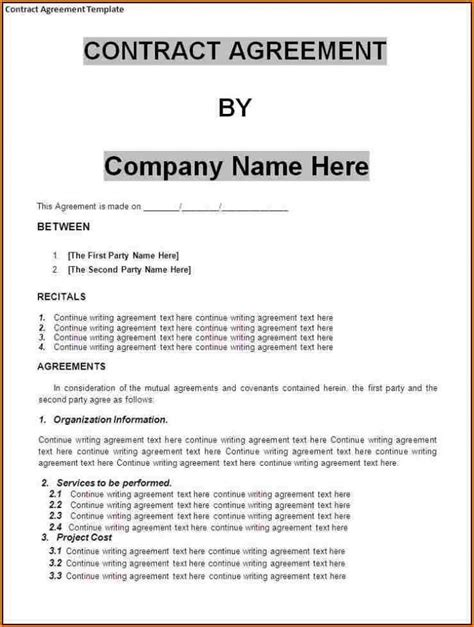 writing a contract agreement template small business agreement template adktrigirl