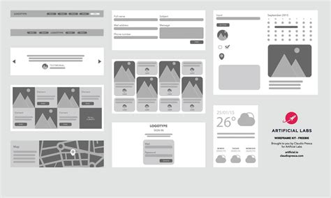 Latest Free Web Elements From June 2015 Illustrator Wireframe Template