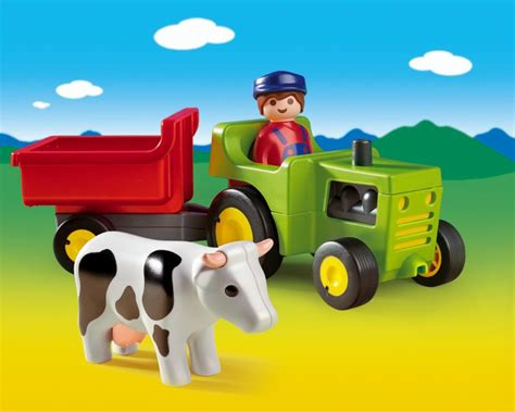 Playmobil Tractor playmobil farmer with tractor 6715 table mountain toys