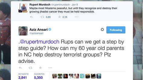 aziz ansari utterly destroys rupert murdoch rupert murdoch and fox news draw backlash