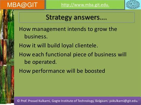 Mba In General Management Meaning by Strategic Management