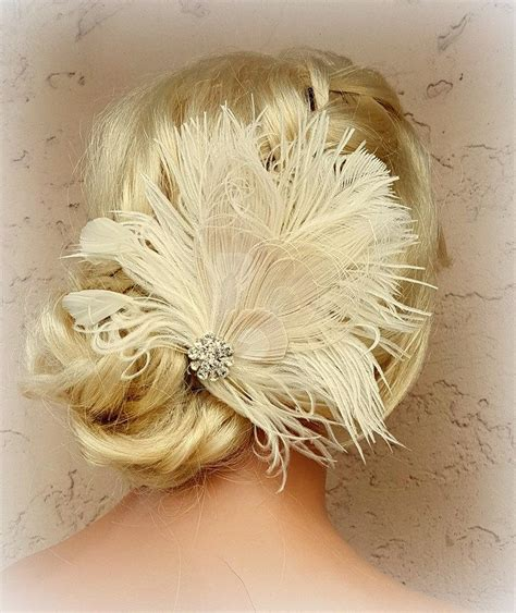 vintage bridal feather hair fascinator feather hair clip feather fascinator wedding hair