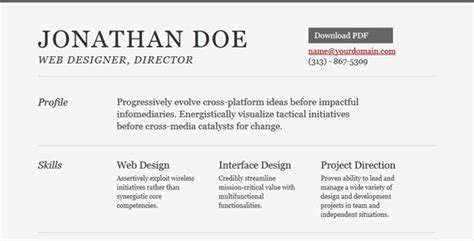 20 free and premium resume cv html website templates and layouts joomlavision