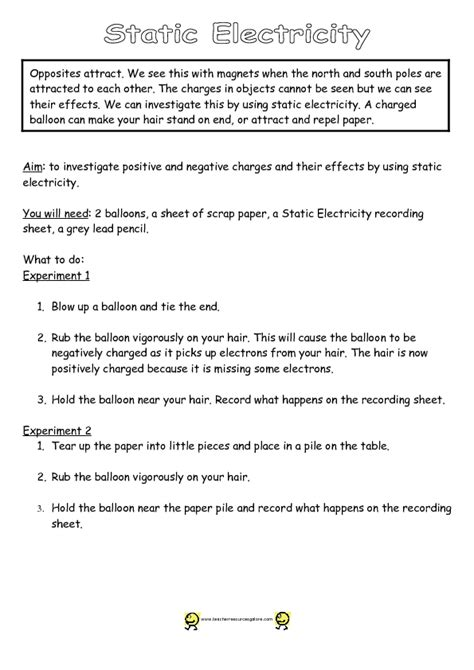 Static Electricity Worksheets For by Pictures Static Electricity Worksheets Getadating