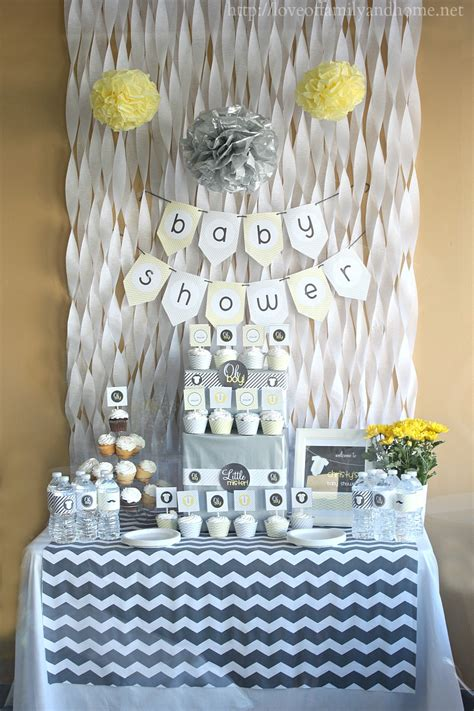 Streamer Chandelier Gray Amp Yellow Baby Shower Decorating Ideas Love Of