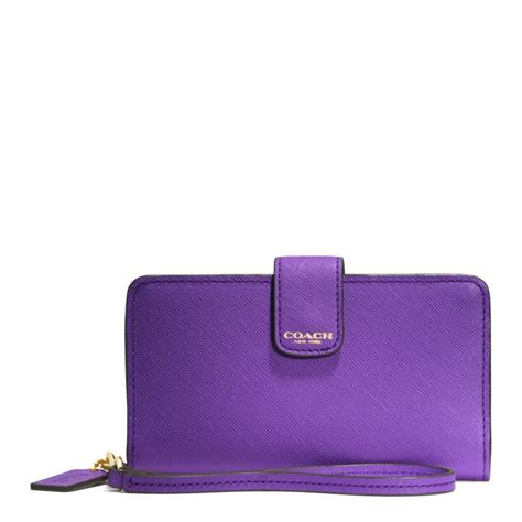 Purple Accessories Purple Wallets Purple Belts Purple Gloves And More by Coach Phone Wallet In Saffiano Leather In Purple Lyst