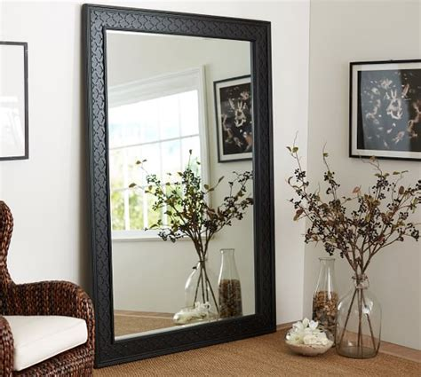 professional design full length wall mirror with light black fretwork floor mirror pottery barn