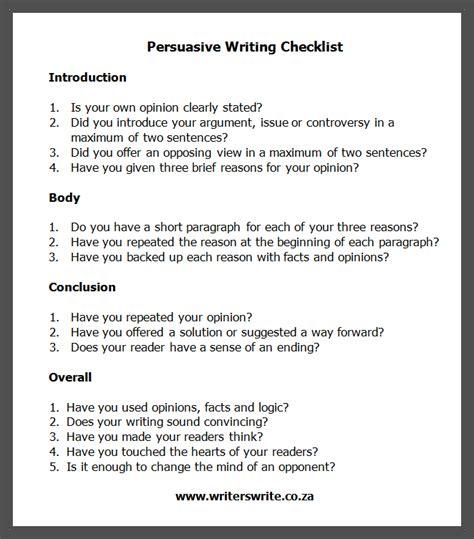essay format checklist persuasive writing checklist writing checklist