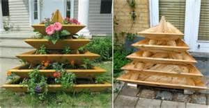 diy vertical garden pyramid planter beesdiy