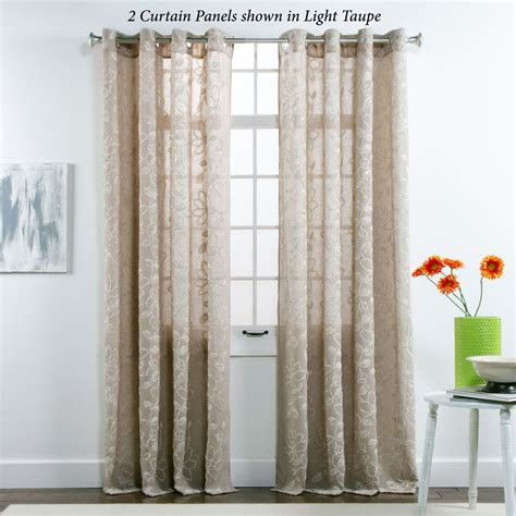 Semi Sheer Curtains Darcey Floral Semi Sheer Grommet Curtain Panels