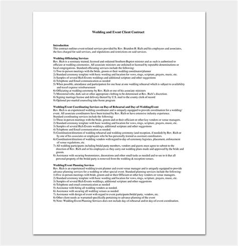 Event Contract Template 19 Sles Exles In Word Pdf Format Sle Wedding Planner Contract Template