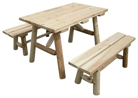 white cedar log bench rustic white cedar log picnic table with detached benches