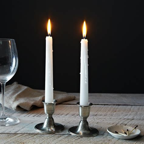 short pewter candlestick pair  food
