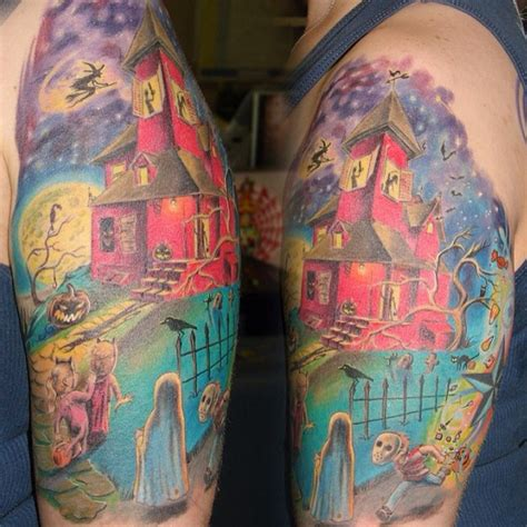 halloween tattoo sleeve seasonally ghoulish and creative tattoos