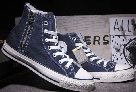 Convers Tosca High Zipper classic converse zipper all chuck soft nap inside velvet blue high tops canvas