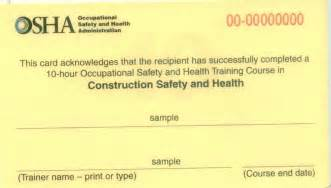 Osha 10 Card Template by Pre Apprenticeship Pre Apprenticeship