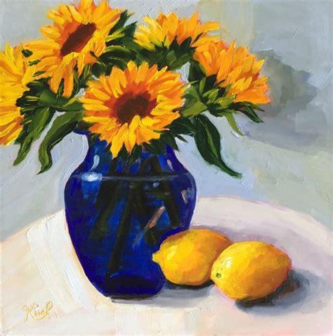 original oil painting sunflowers  cobalt