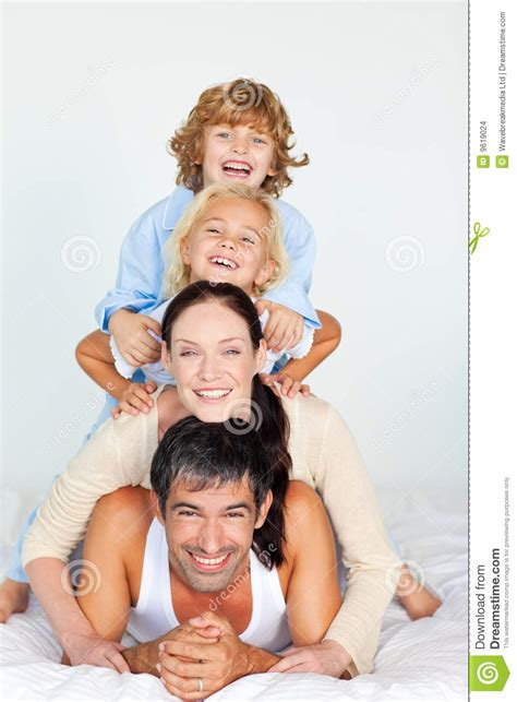 fun in bed family having fun in bed stock images image 9619024
