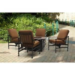 Patio Set With Gas Fire Pit - hampton bay niles park cashew 5 piece gas fire pit patio seating set bare ns5 brh00800 the