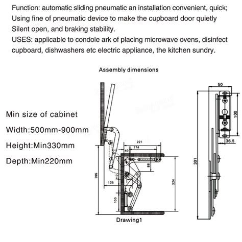 Arm Mechanism Hinges Vertical Swing Lift Up Stay Pneumatic