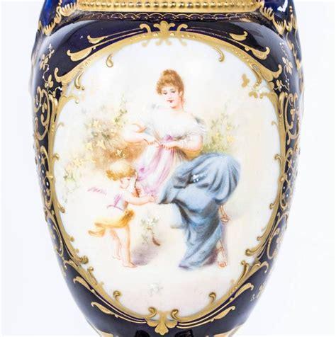 Antique Style Vintage Blue White Vase Painted 22cm 8 75 Quot Ebay Antique Pair Of Vienna Porcelain Royal Blue Vases Circa