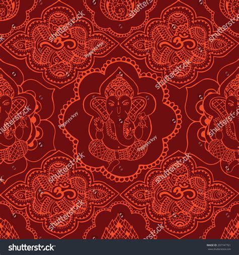 seamless pattern indian seamless pattern indian saffroncolored patterns hand stock