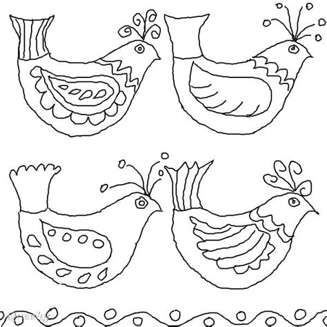Bird Folk Art A Black White Speedpaint Drawing By Folk Coloring Pages