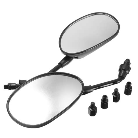 1 Pair 8mm 10mm Motorcycle Rearview Mirrors For Honda Yamaha Suzuki Ka pair universal black rearview side mirrors 8mm 10mm for