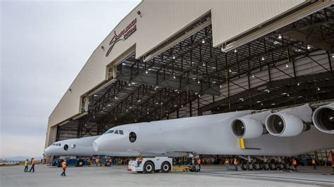 plan hangar stratolaunch s airplane emerges from hangar for