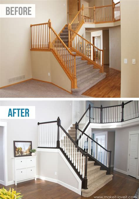 oak banister rails diy how to stain and paint an oak banister spindles and
