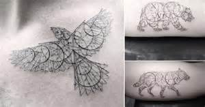 Elegant fine line geometric tattoos by dr woo colossal linkis com