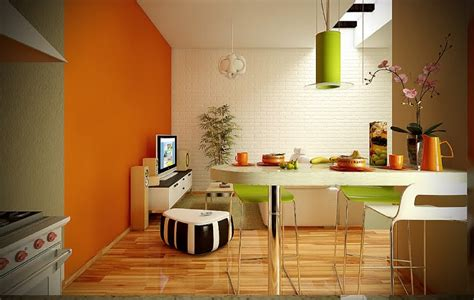Orange And Lime Green Living Room by 2 Orange Lime Green White Dining Living Room Interior