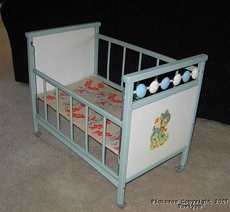 Vintage Wood Baby Doll Crib Drop Side Spinners Donkey Baby Doll Cribs