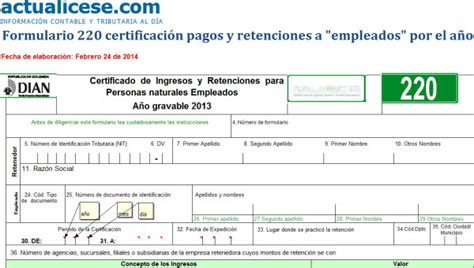 como descargar los certificados de ingresos y retenciones 2015 formulario 220 modelos y formatos