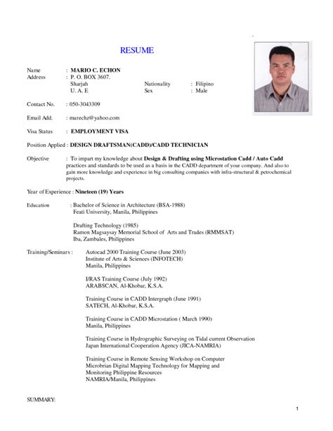 Company Resume Philippines Lab Technician Resume Format Inspiredshares