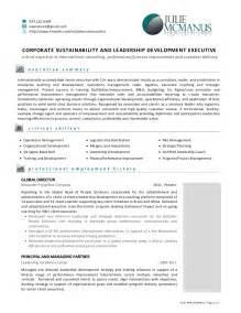 resume of julie mcmanus leadership and sustainability