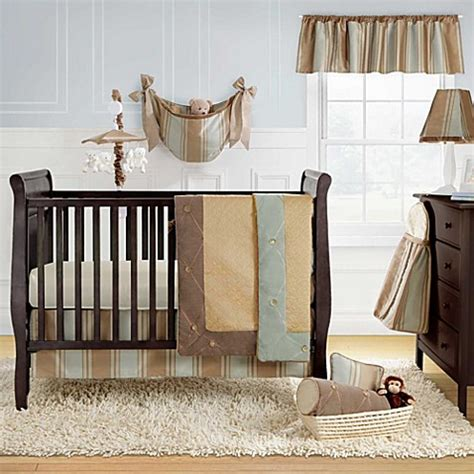 beige crib bedding bananafish 174 logan 3 piece crib set accessories in blue