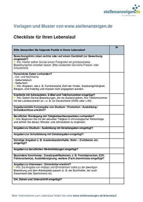 Checkliste Lebenslauf Pdf Ihr Perfekter Lebenslauf Stellenanzeigen De Bietet Ihnen Eine Checkliste F 252 R Ihren