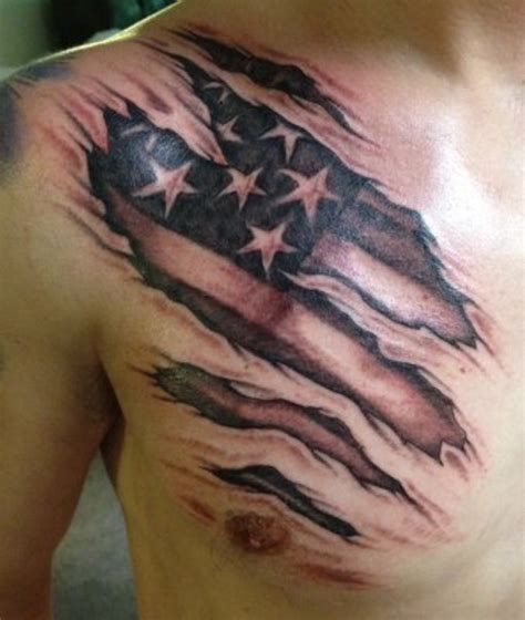 american flag chest tattoo ripped skin american flag on bicep