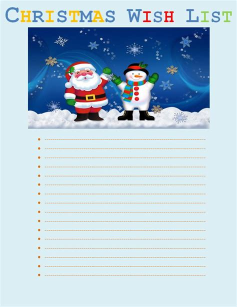 free christmas wish list template free word s templates