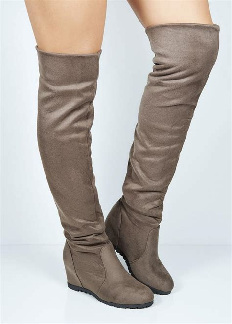 cn822 khaki suede the knee wedge boots