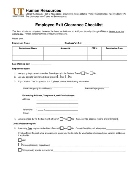 employee exit template word employee exit clearance checklist form of